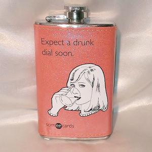 "Bronze Glitter Retro ""Expect a Drunk Dial"" Flask"